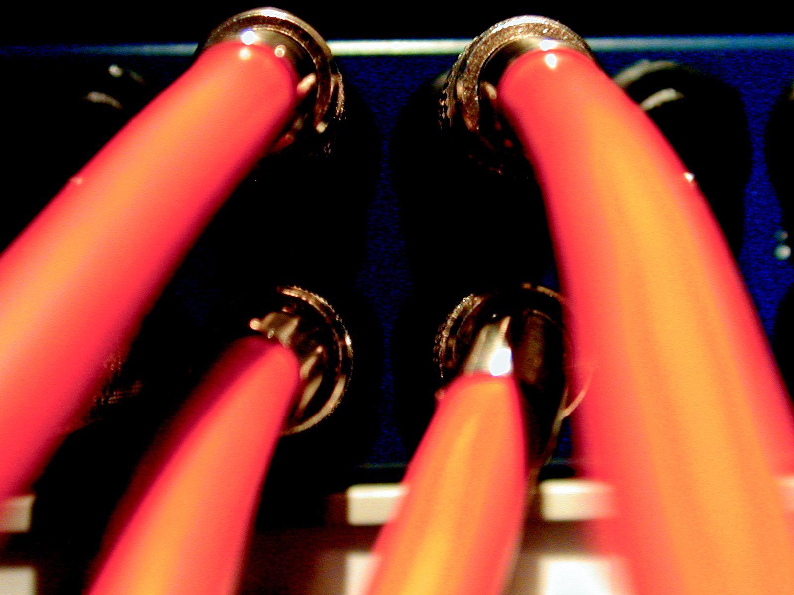 wires orange plugs jacks cables
