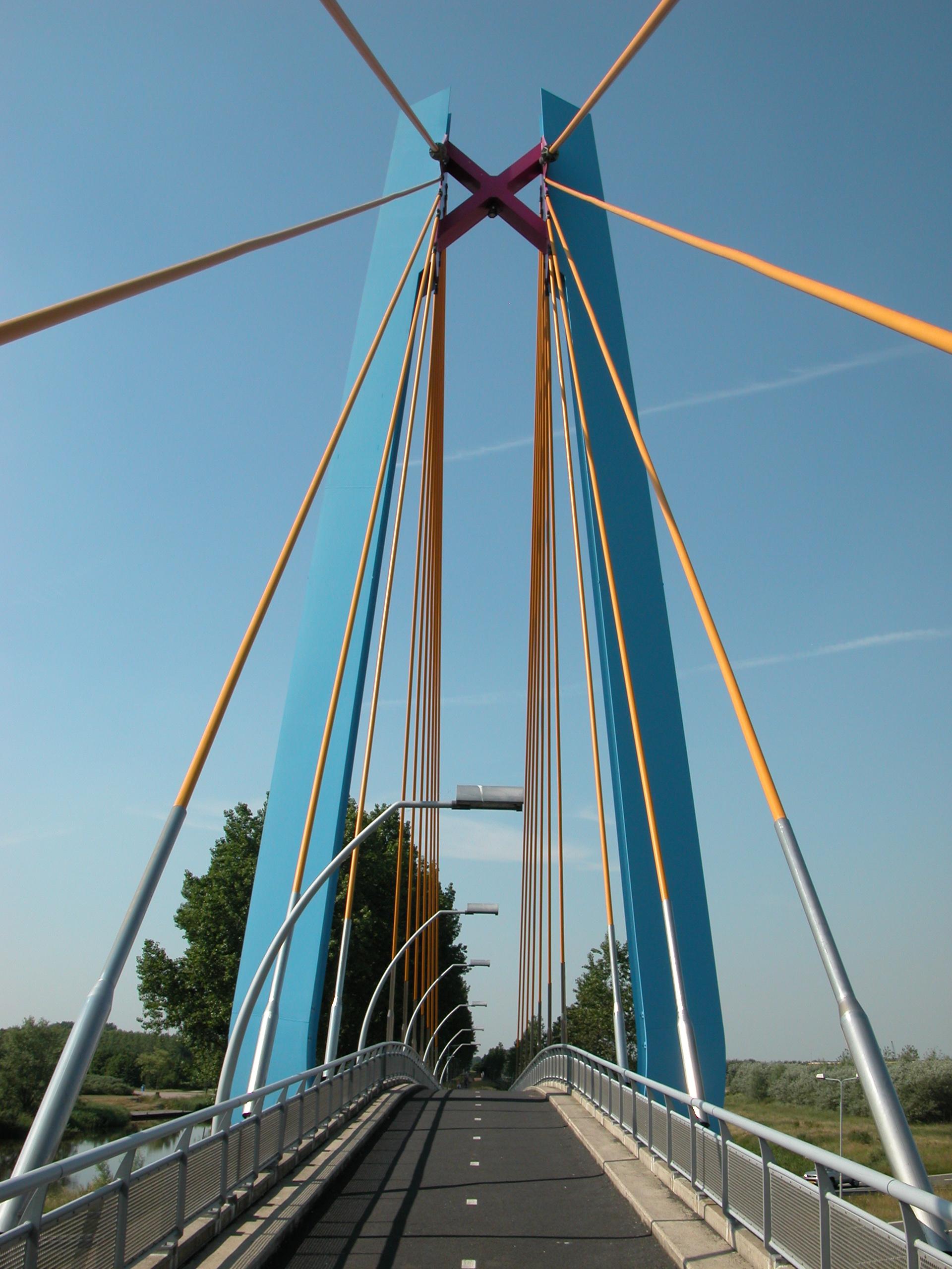 bridge steel yellow blue railing light lights