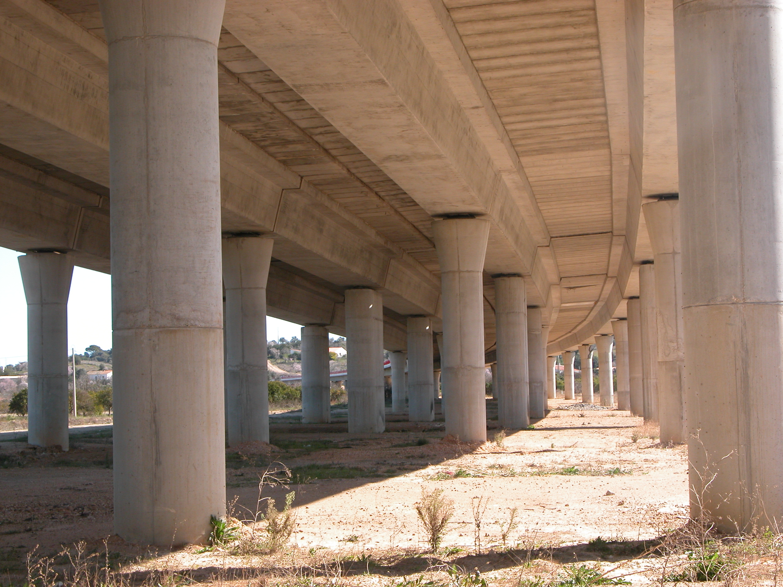 under road pillars ramp concrete