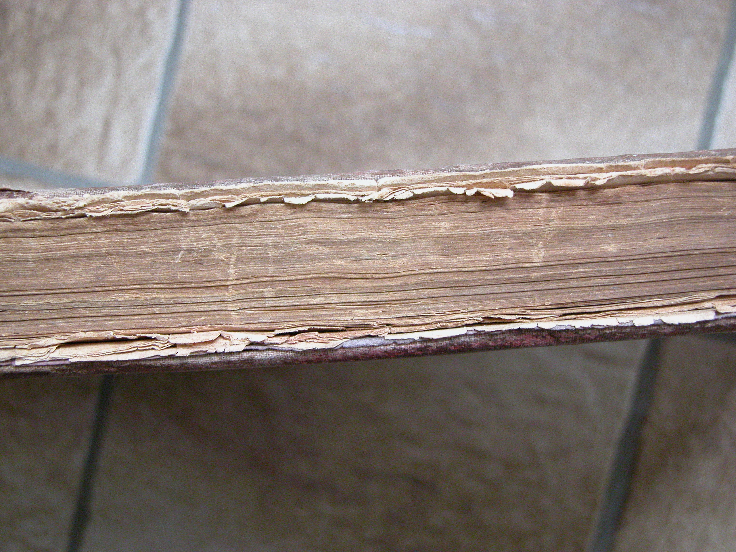 side face of a book old worn paper