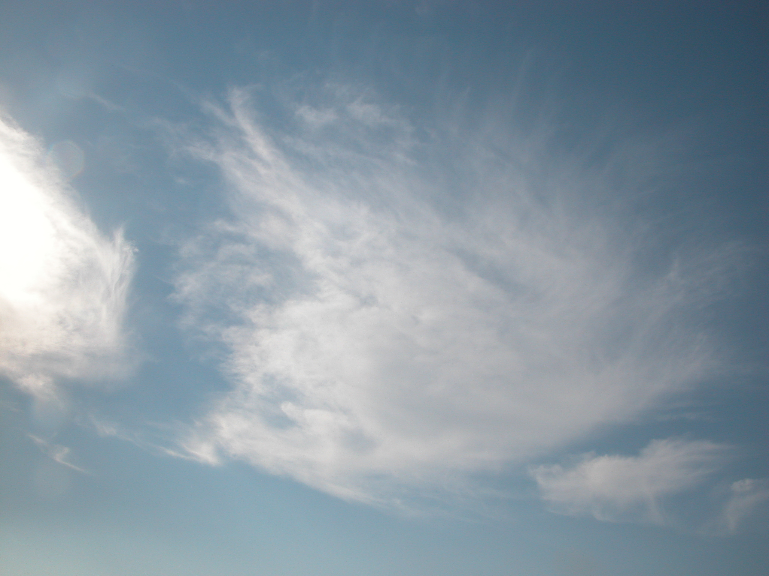 sky bright floating by clouds image