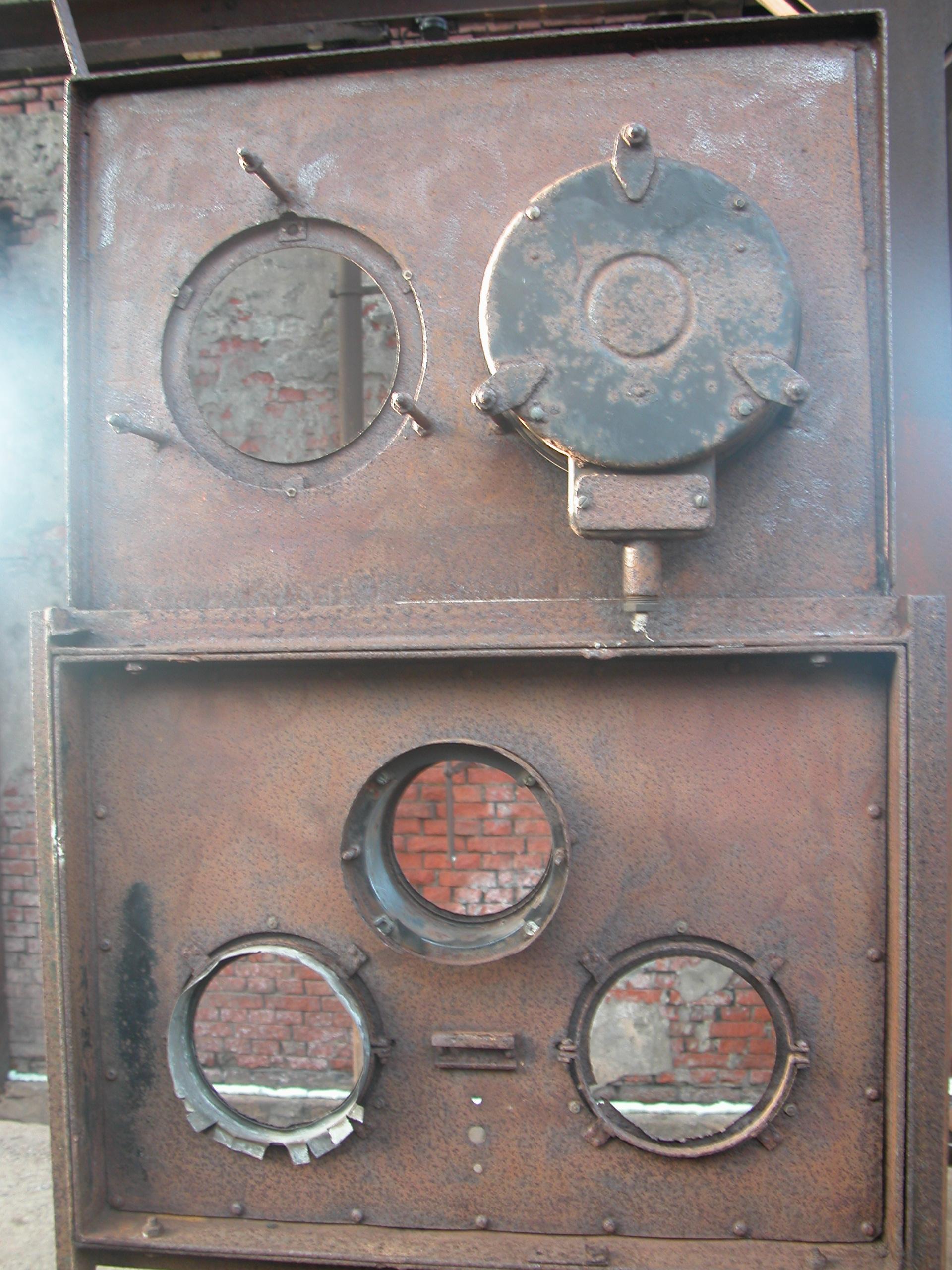 circuits circuitry metallic round holes portholes machine boiler