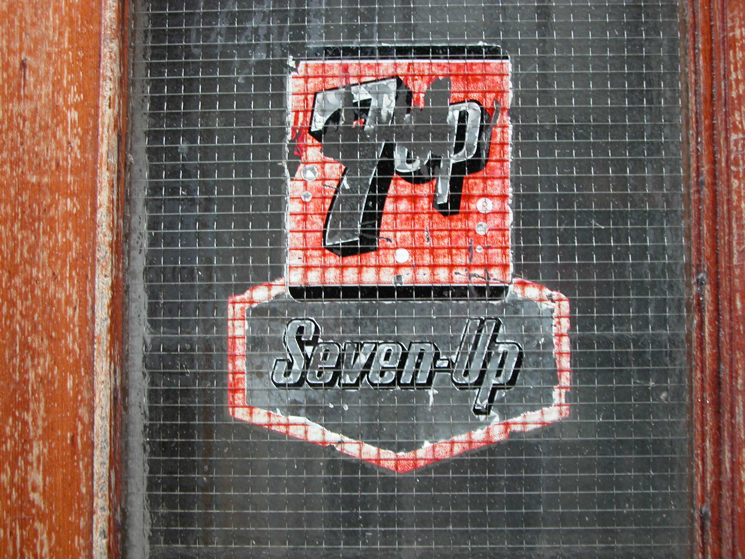 scripts 7up brand logo sticker typography number 7 glass weathered