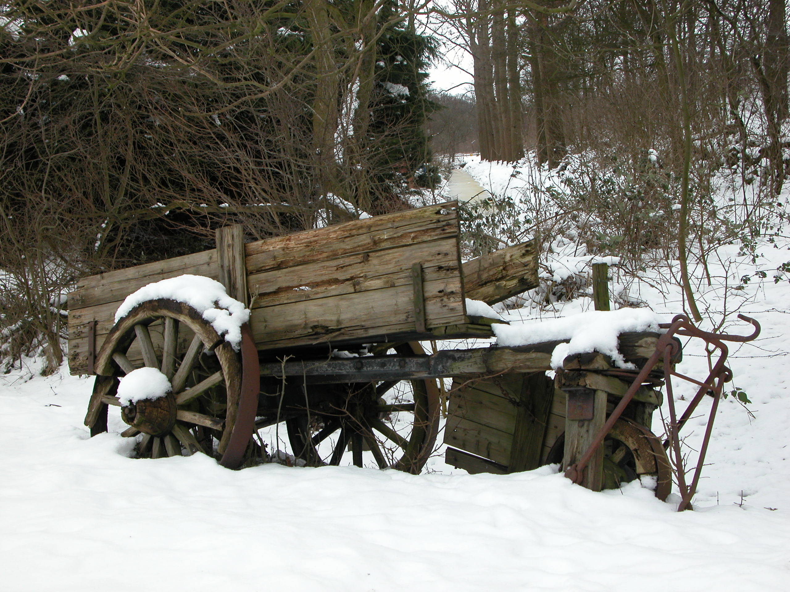 old cart in the snow winter