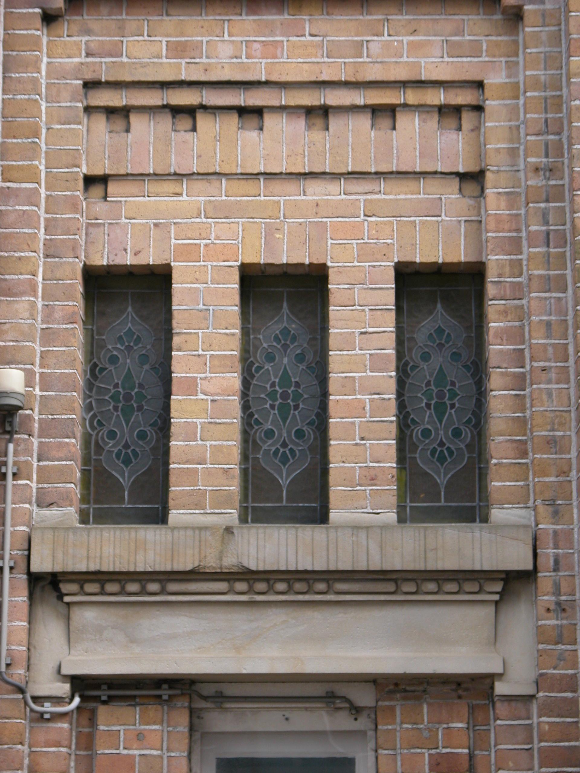 wall front bank bricks windows