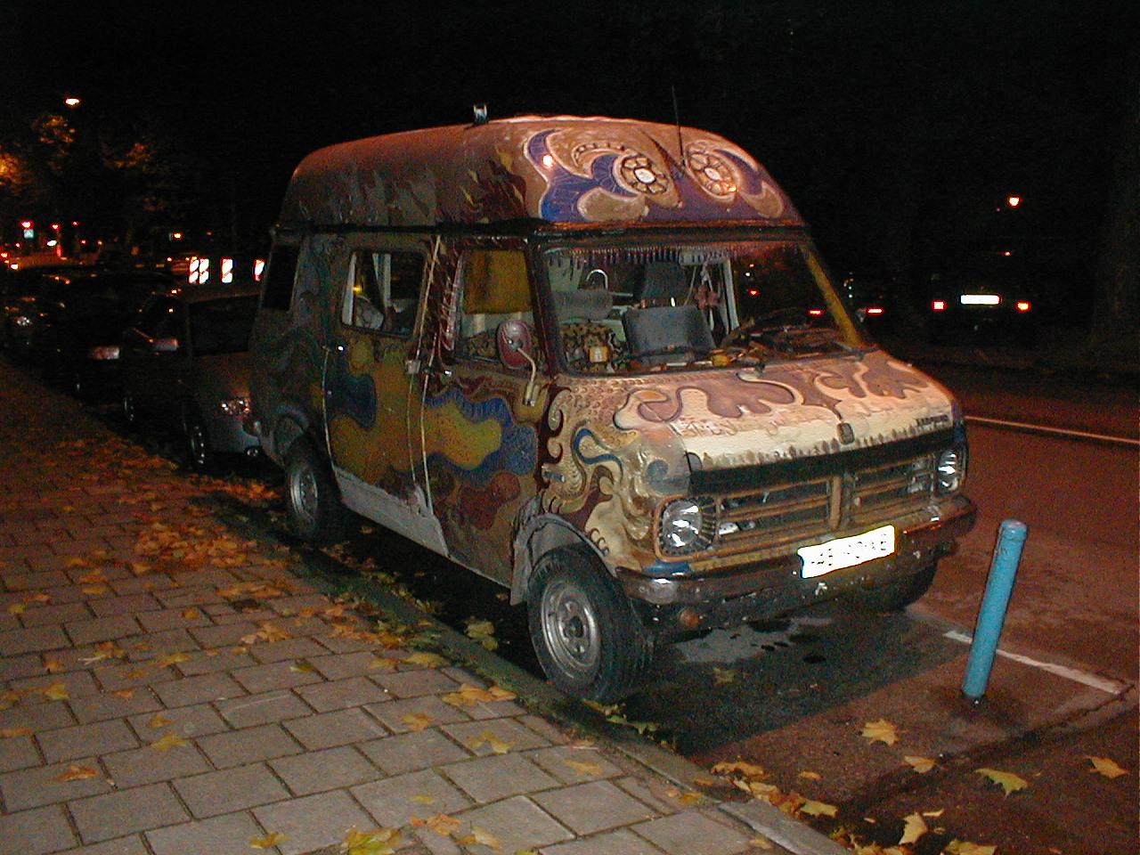dario car painy painted hippie mobile van