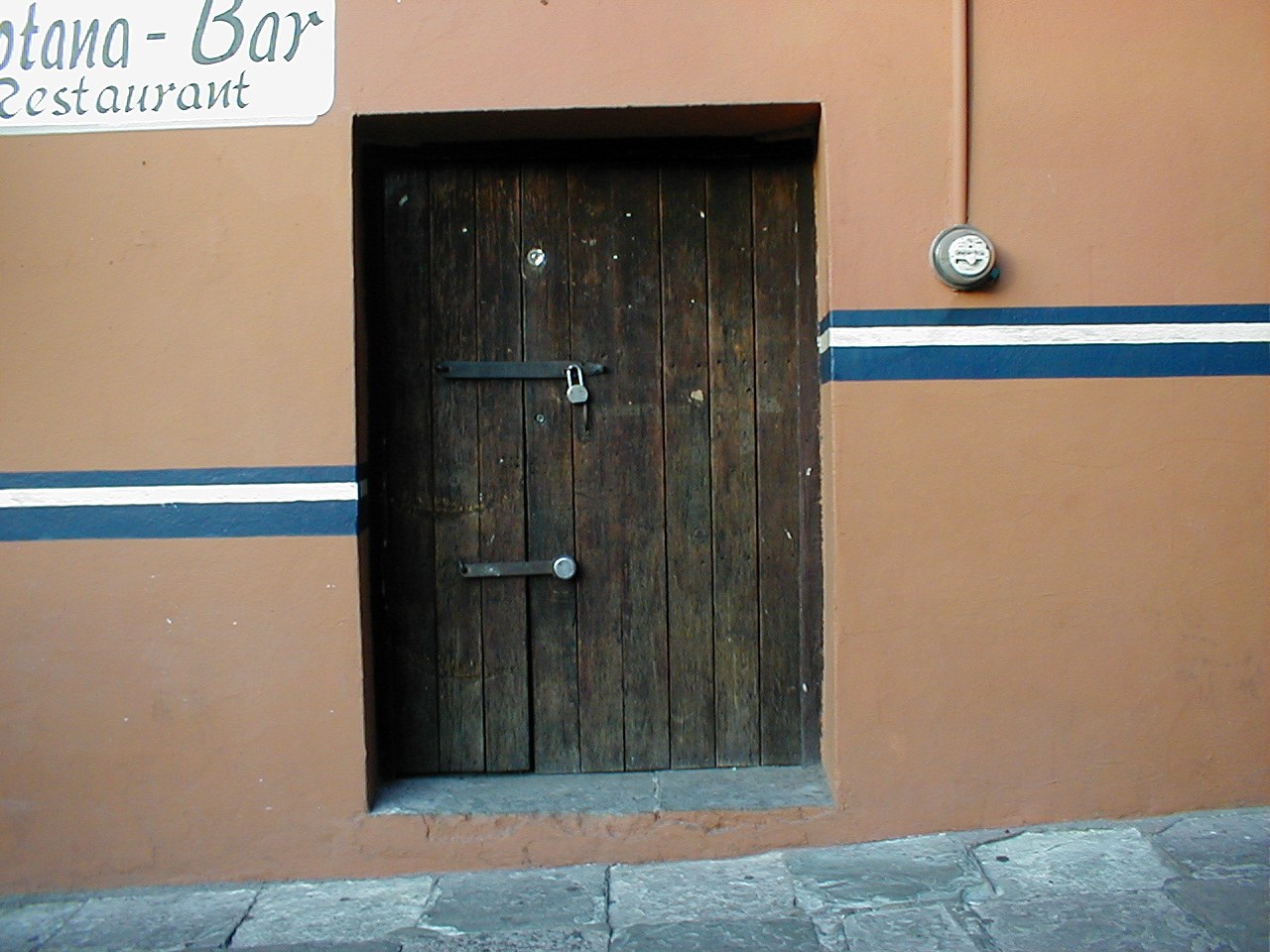 dario bar door wood wooden heavy padlock cafe brown