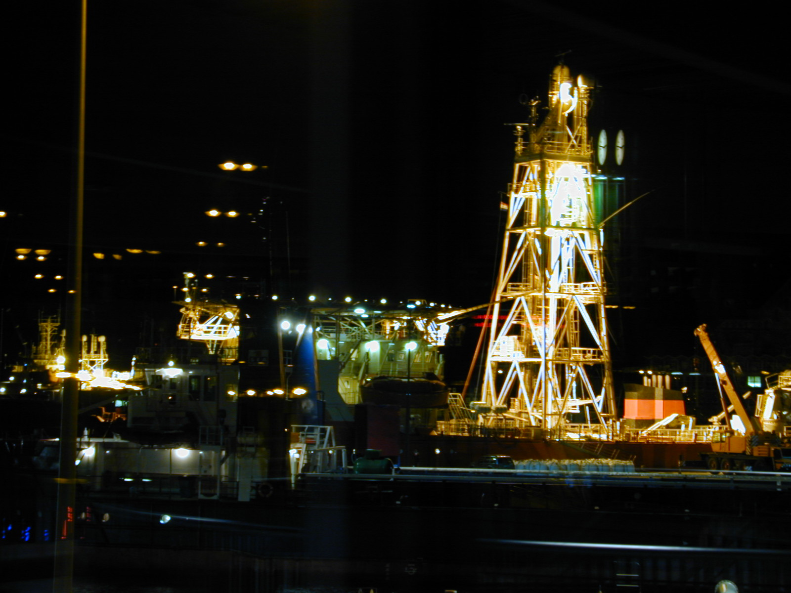 sea harbor harbour dark night bright lights ship ships dock docks nighttime