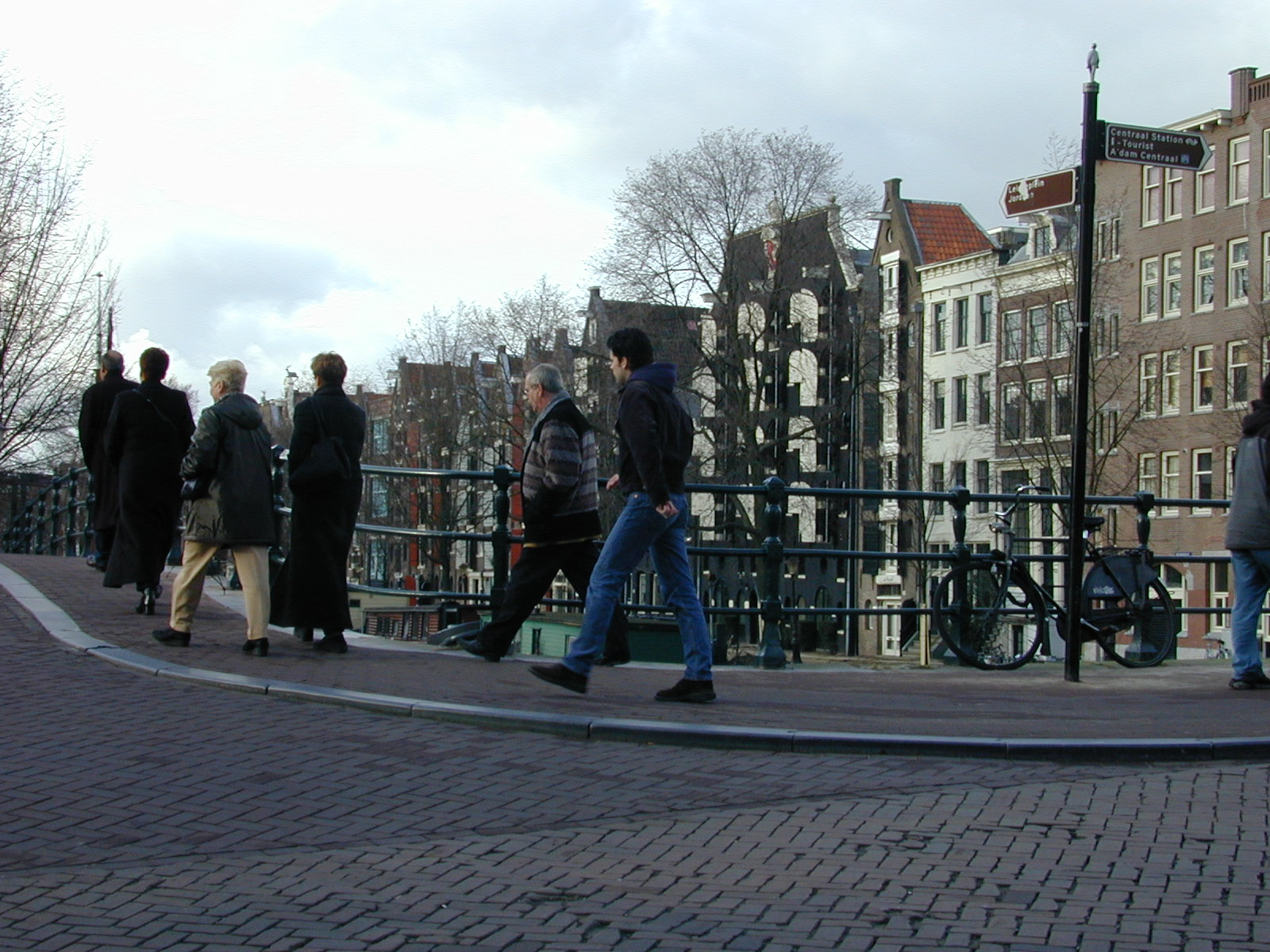 bridge city walking people men women amsterdam