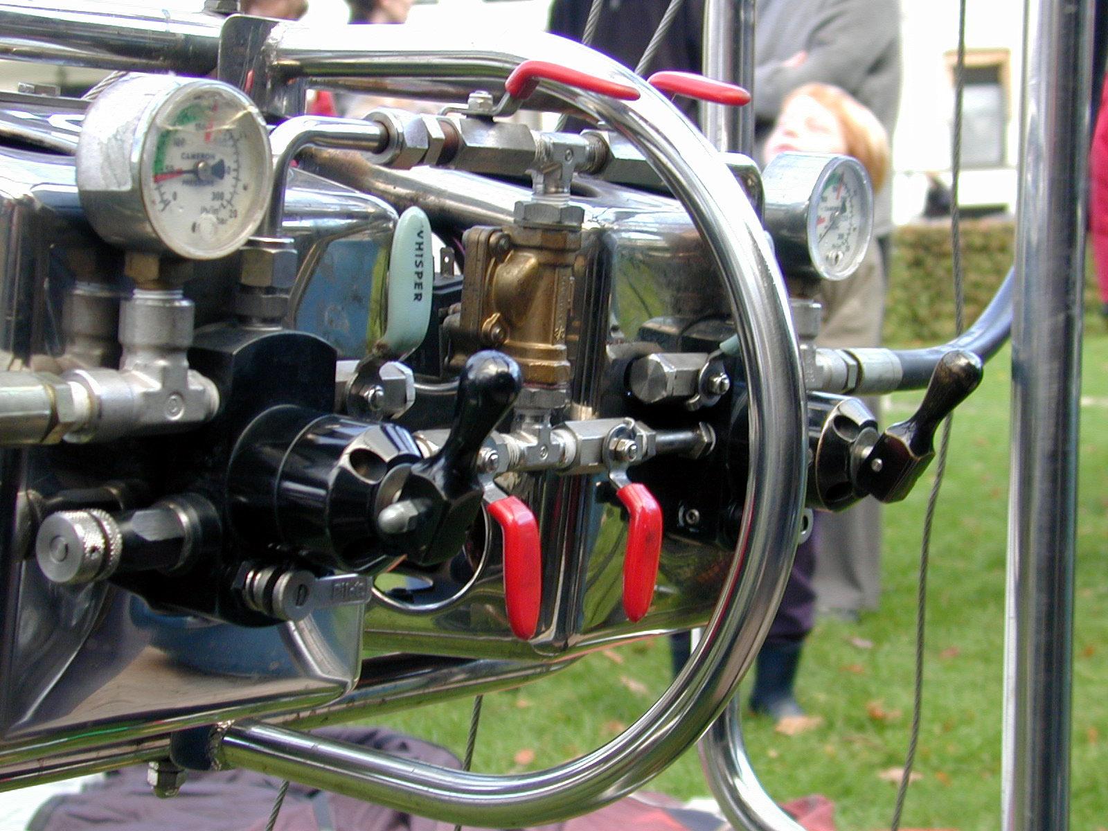 mechanics equipment gauge gauges lever levers handle handles pipe pipes tube tubes chrome metal plastic ballooning balooning