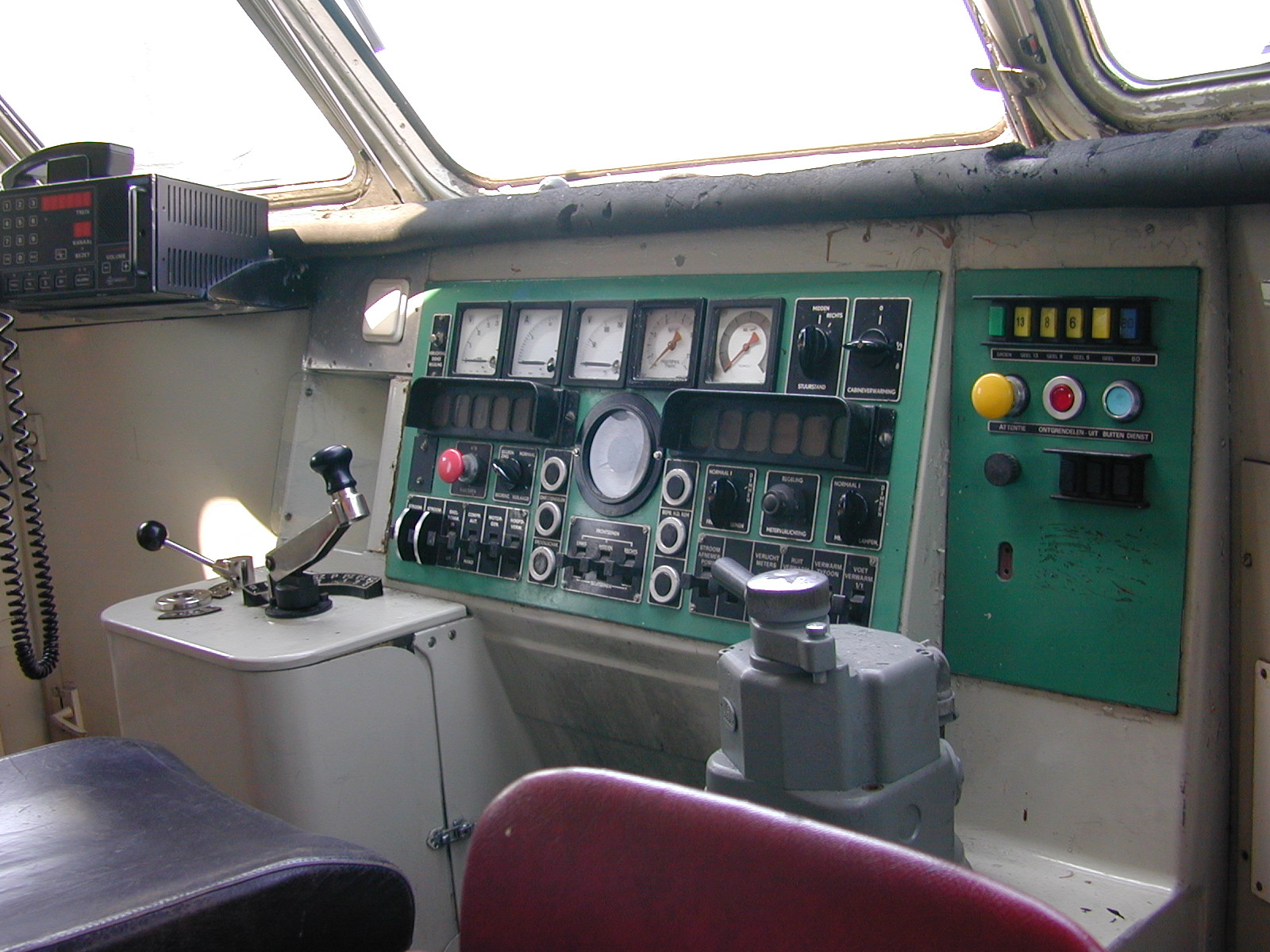 train cockpit dashboard gauge gauges switch switches lever levers radio button buttons