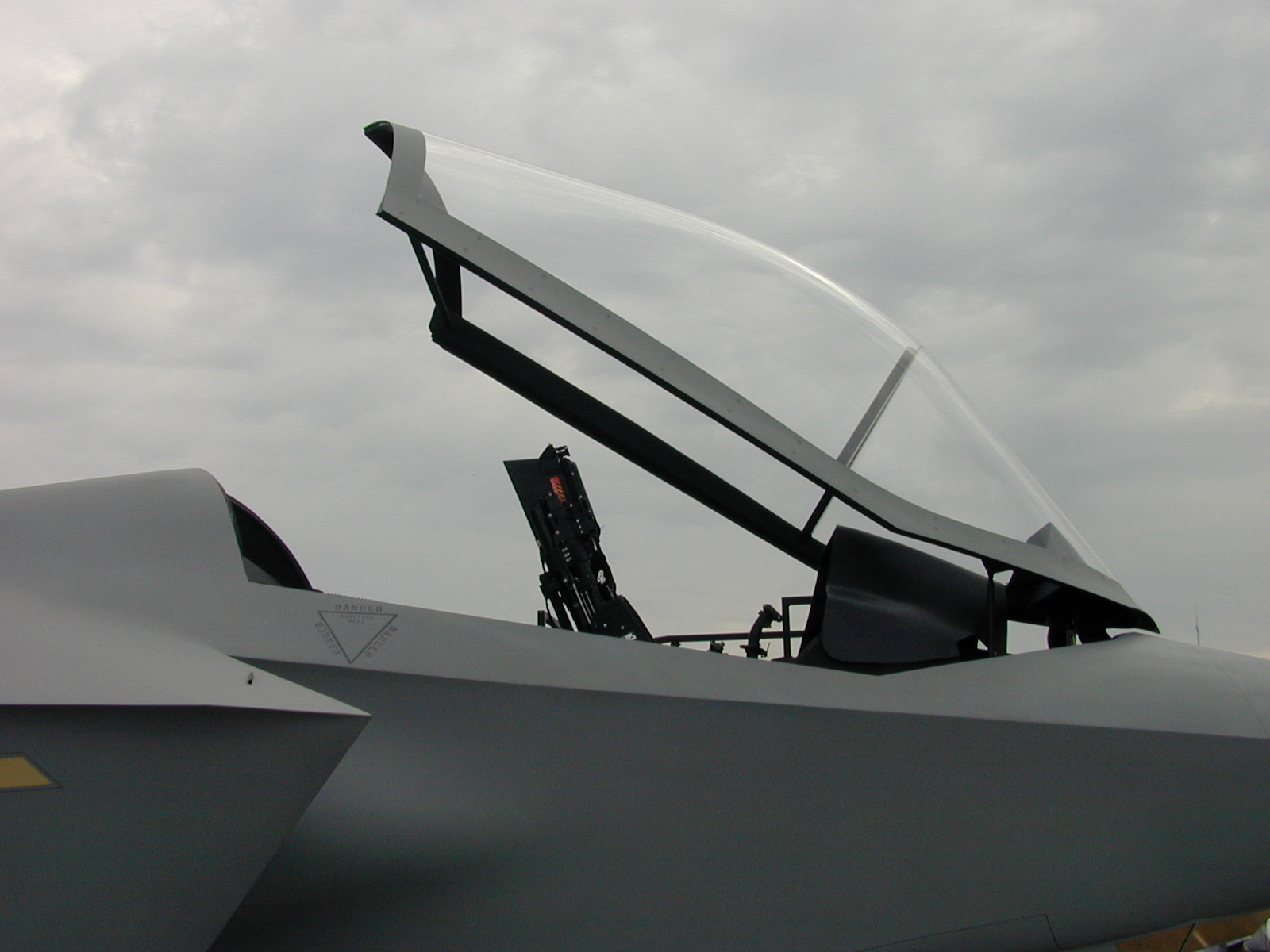 cockpit canopy chair jsf joint strike fighter metal glass grey gray open image