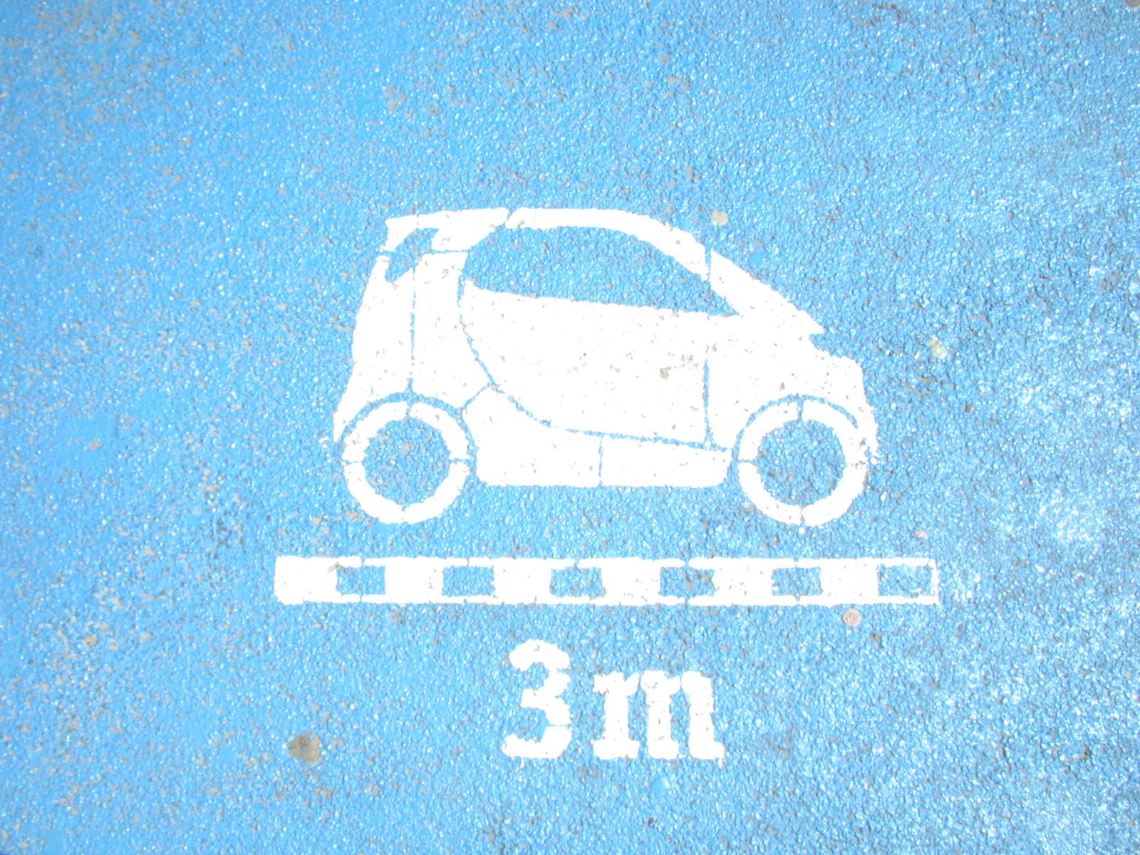 small car parking space blue 3 meter smart logo illustration