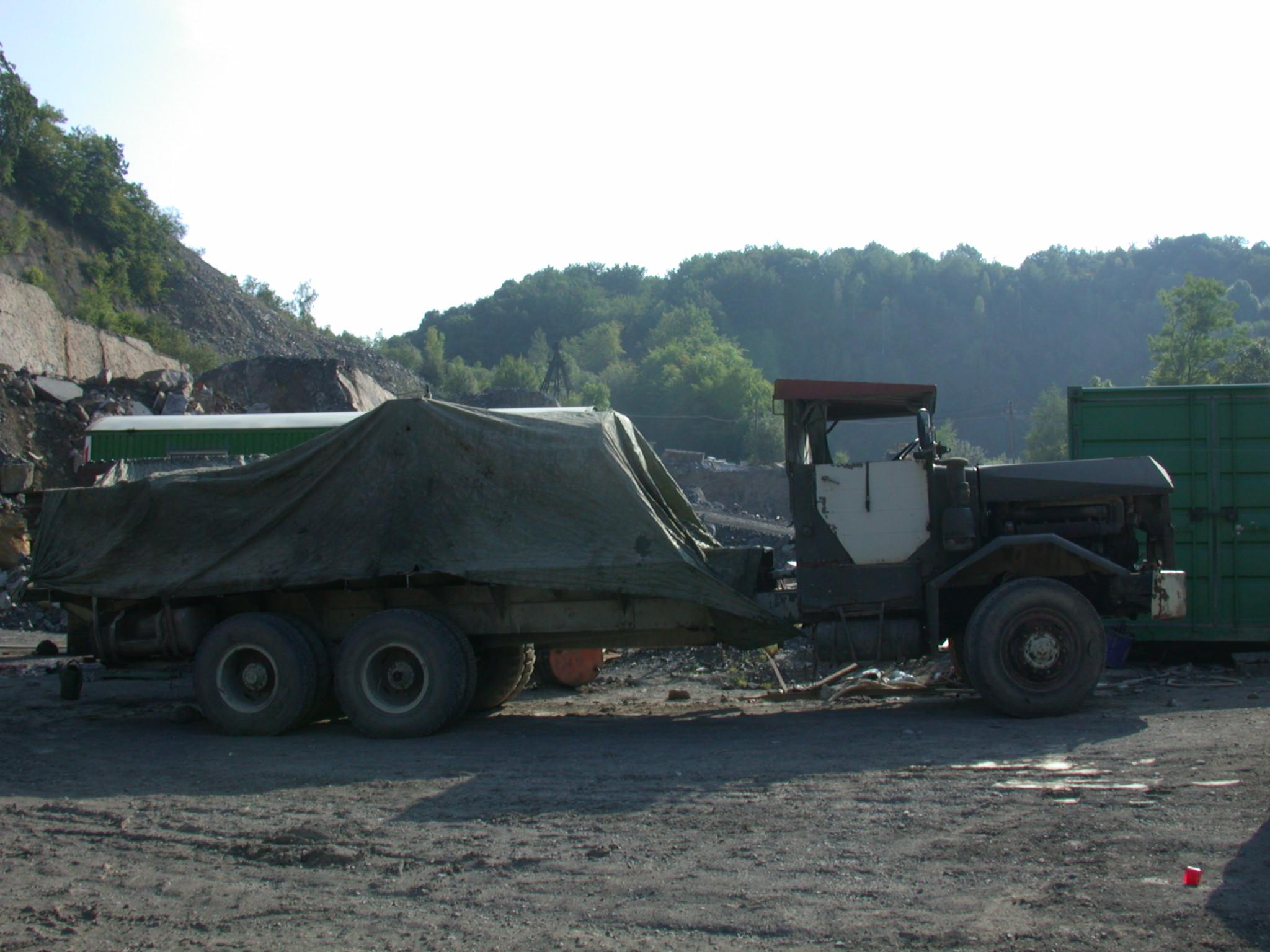 vehicles land truck transport wreck oldtimer side canvas load loaded quarry