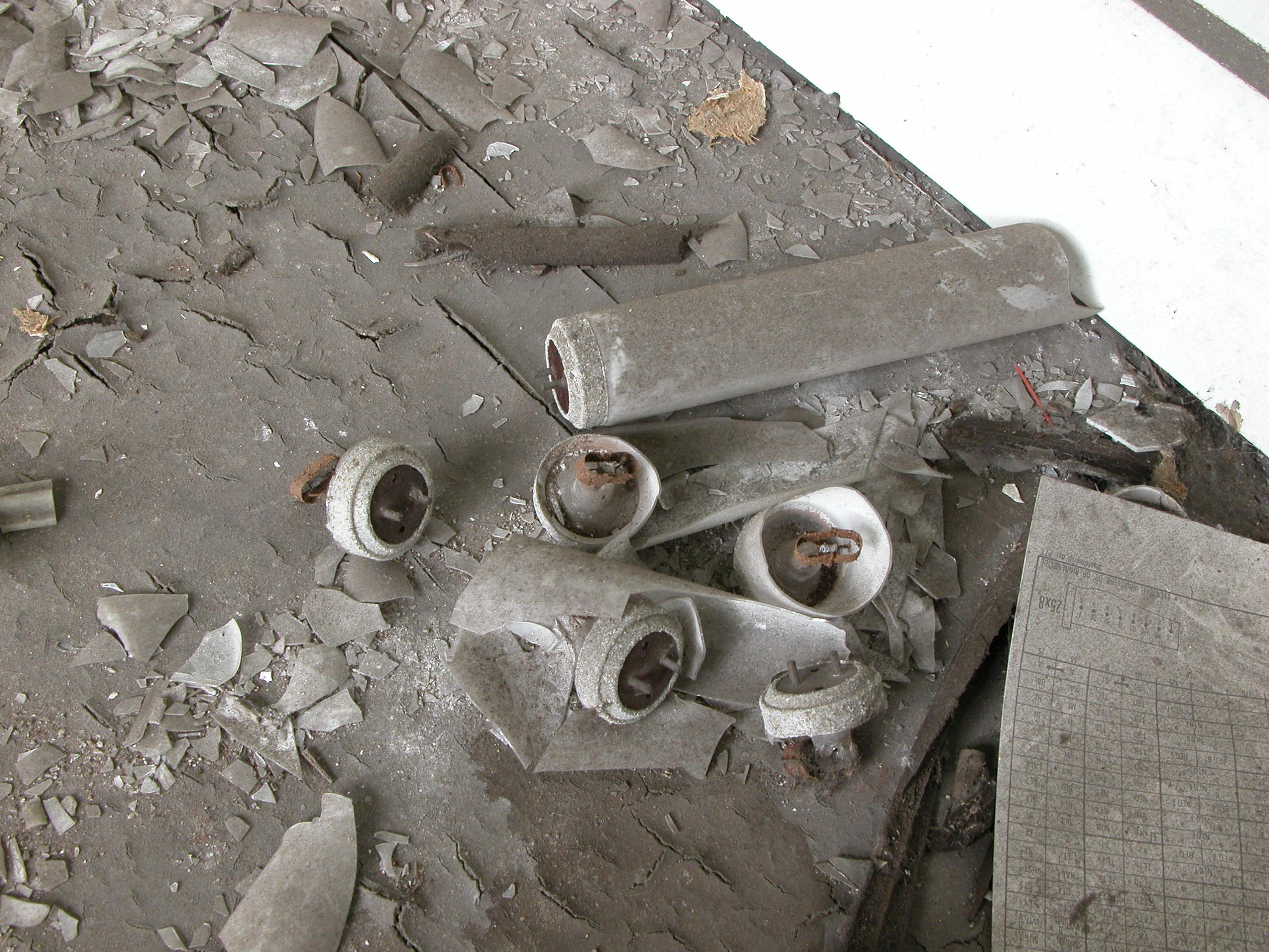 broken tube lights dirt factory floor time table dust