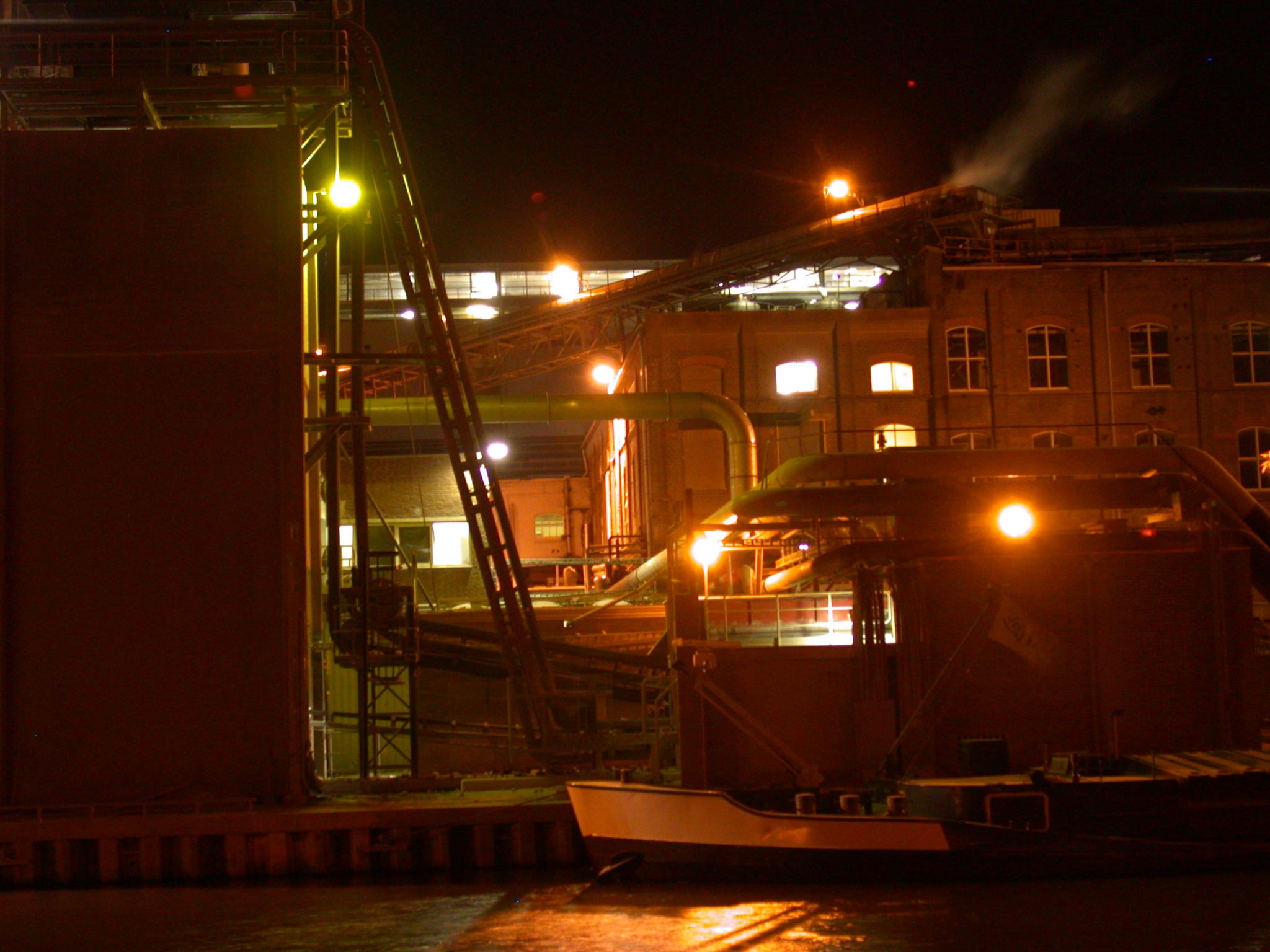 night harbour port ship lights cargo