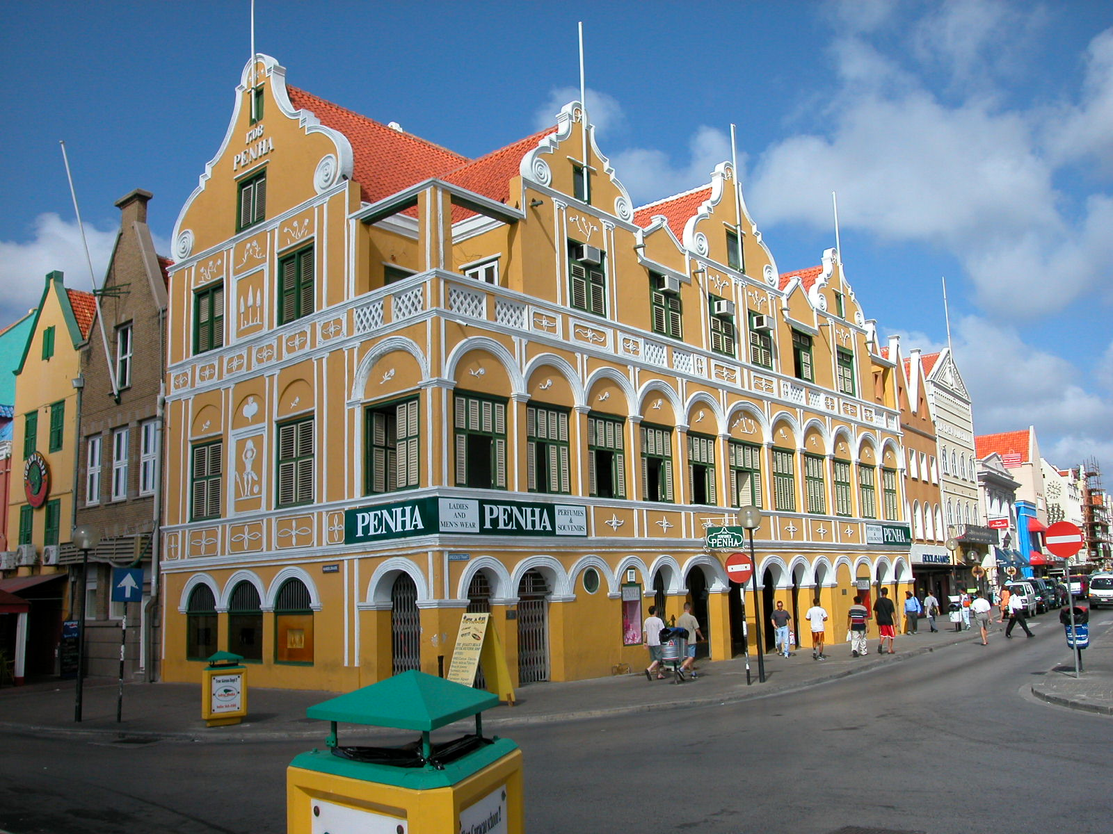 penha colony colonial antilles decorative houses shopping street highstreet high sunny caribbean yellow