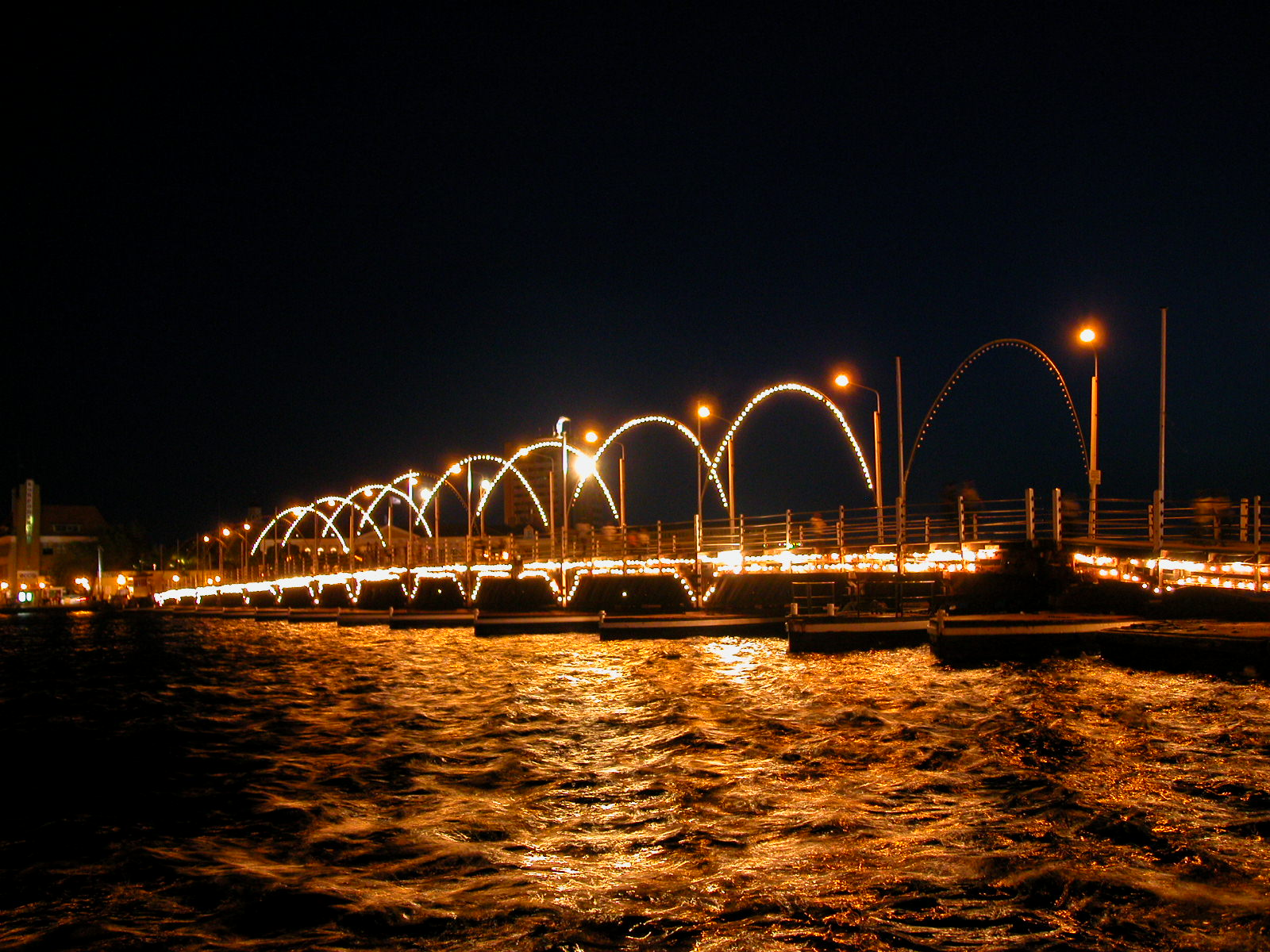 jacco curacao willemstad architecture exteriors bridge arch arches light lights waterscape night