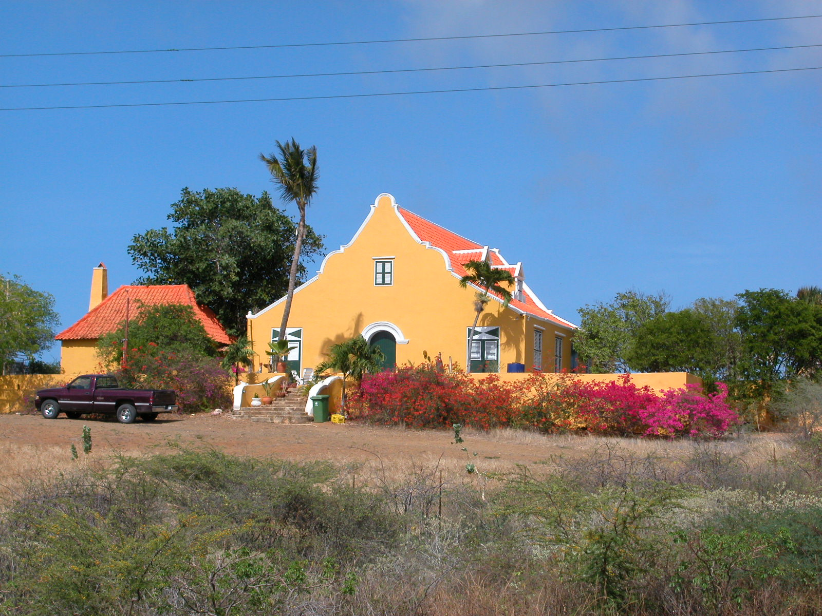 jacco curacao house yellow painted colonial happy bright bush bushes bracken