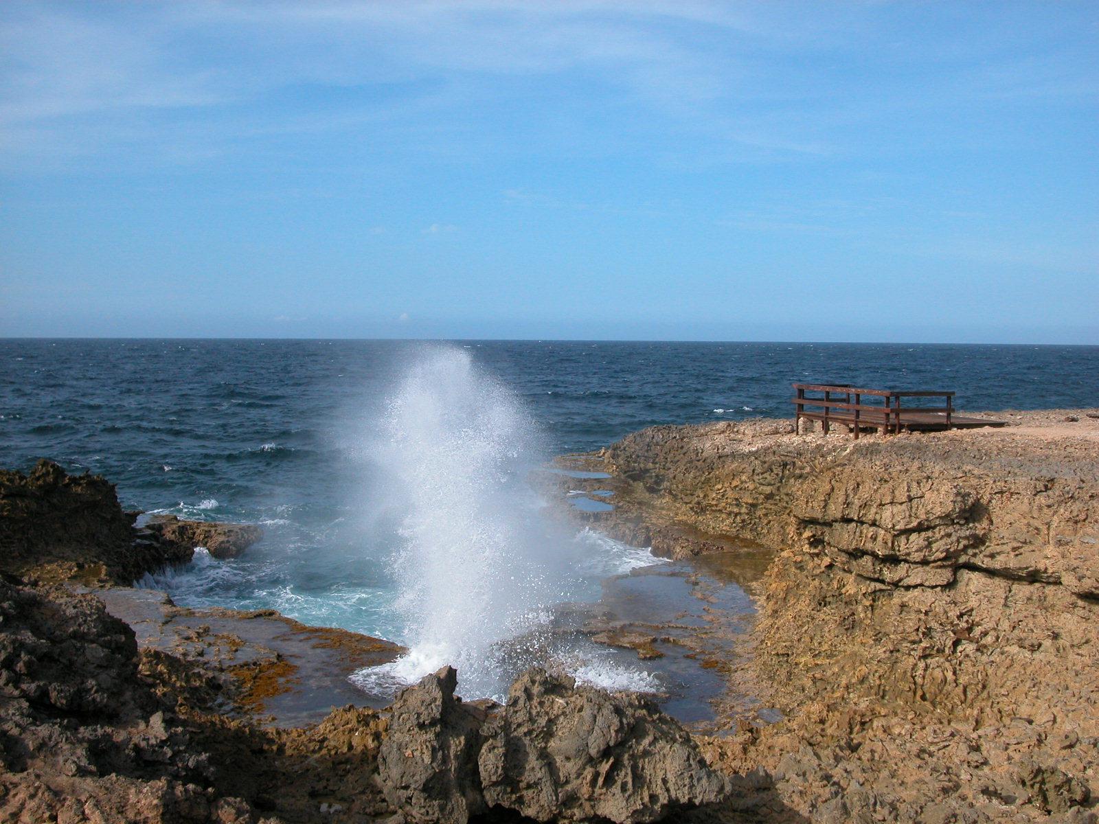 braking wave waves ocean sea nature landscapes curacao jacco coast rock beach water elements fountain