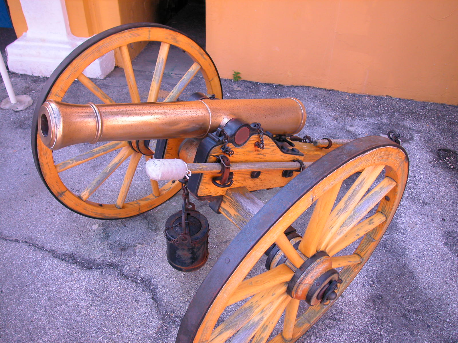 small copper cannon wheels weapon