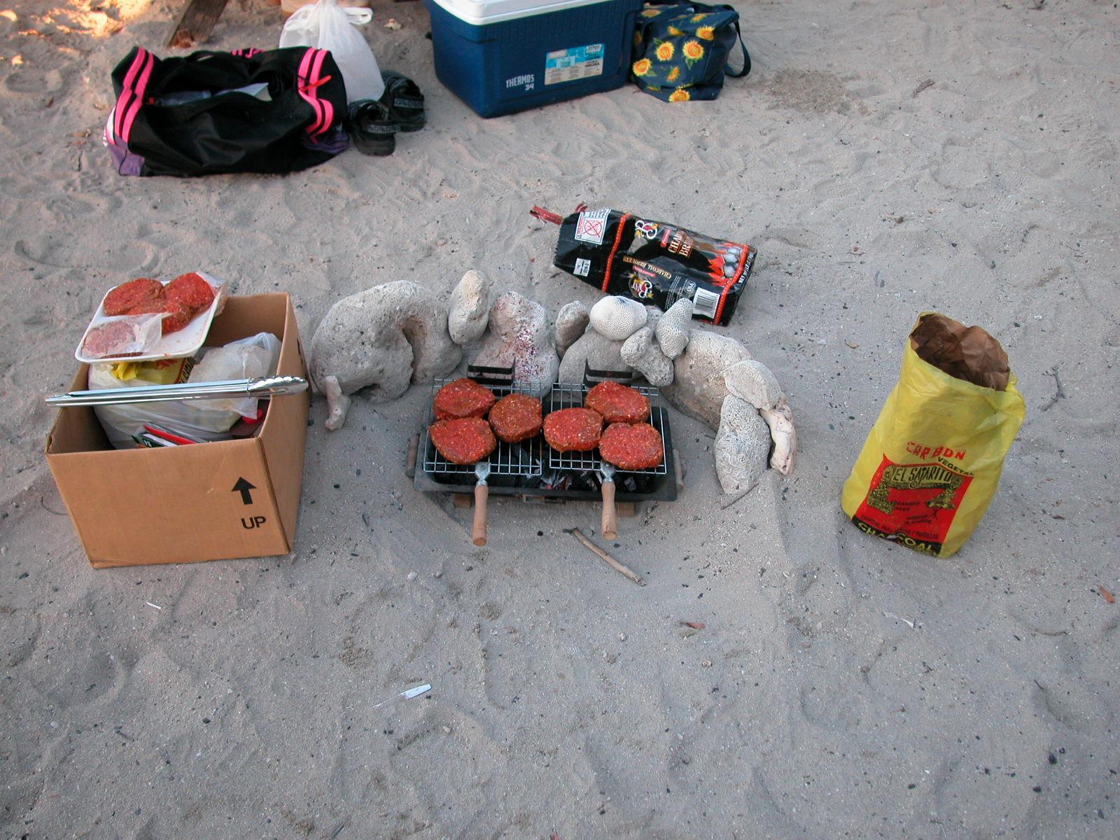 barbeque bbq b.b.q. grill sand dunes beach summer hamburger hamburgers charcoal snack dinner food