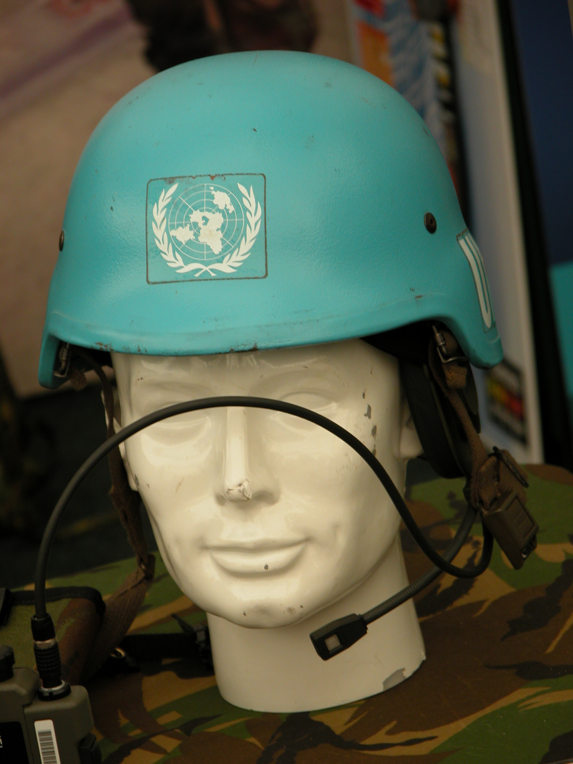 helmet puppet face microphone un map logo bluehelm blue peacekeeper peaceforces peace army