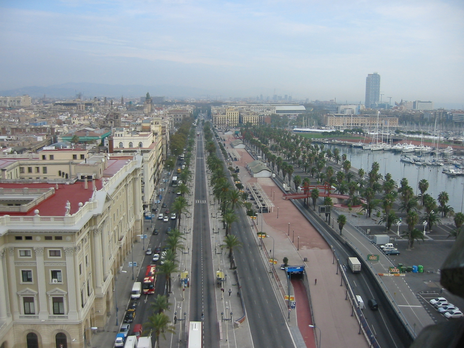 cityscapes nature landscapes city harbour palmtrees roads buildings smog barcelona