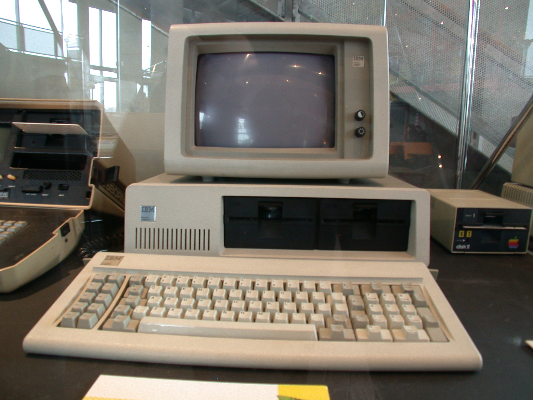 computer objects antique ibm monitor terminal keyboard diskdrive beige plastic